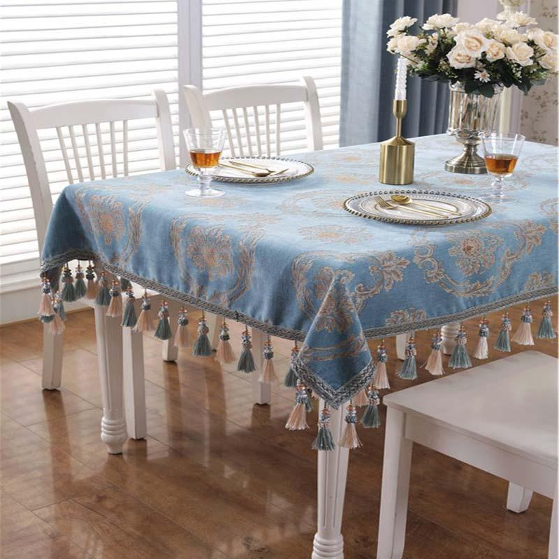 Light Grey Floral Luxury Wedding Embroidered Tablecloth Handmade Table Covers