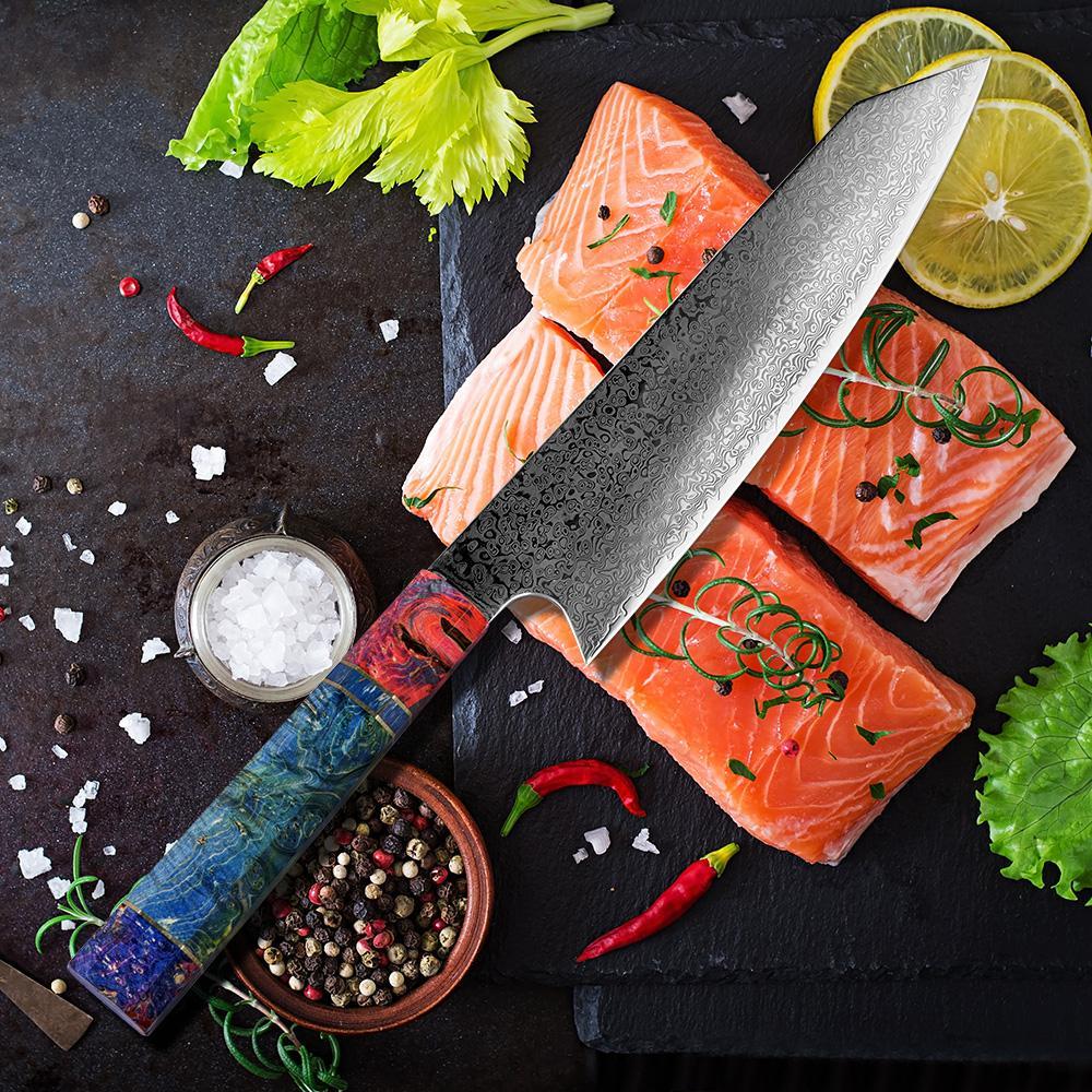 8 pouces Chef de nakiri Couteau 67 couches japonais Damas acier Damas Couteau de chef Couteau de cuisine Damas solidifiée bois HD