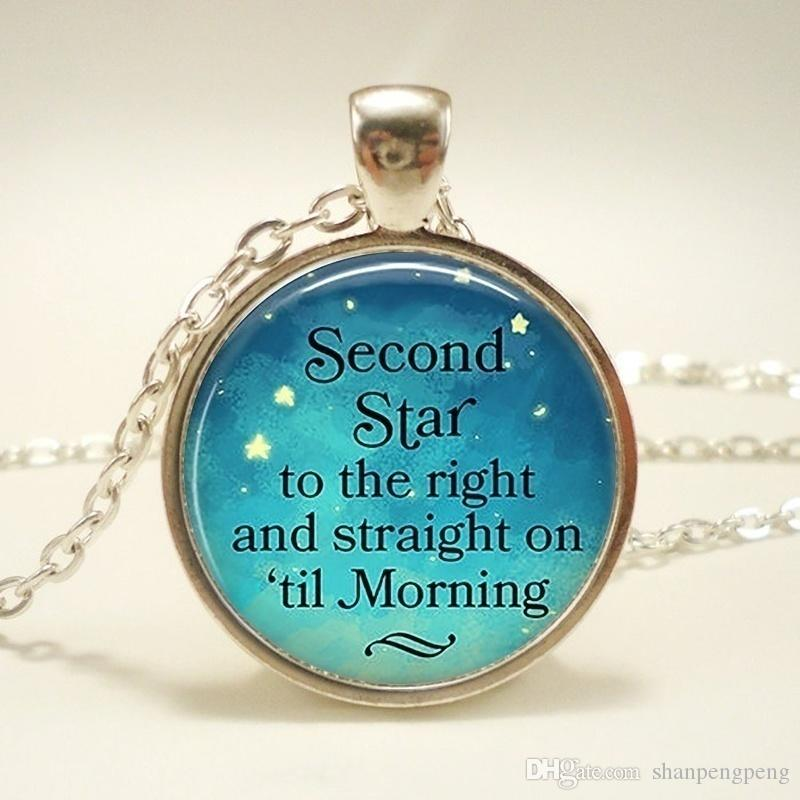 Second Star To The Right Pendant, Peter Pan Quote Jewelry, Literary Quote Necklace, Handmade Glass Silver Chain Necklace