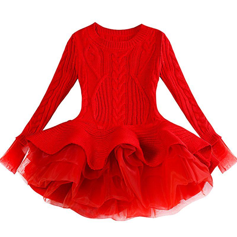 Grueso niños caliente del banquete de boda de Navidad vestido de niña Vestidos de punto gasa de invierno Kid ropa de las muchachas Ropa de los niños vestido de niña T200107