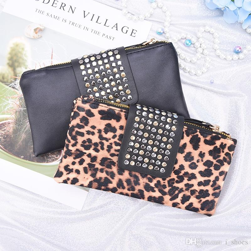 Women Rivet Zipper Handbag Leopard Print Clutch Bag Design Wallet Holder Card Coin Clutch Purse Wristlet Evening Bag Gifts #164768