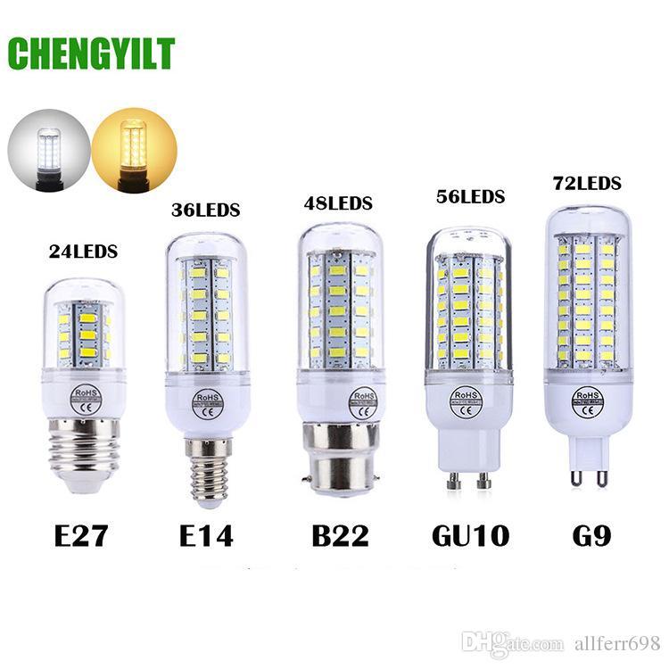 2019 new 24LED SMD5730 E27 GU10 B22 E14 G9 LED light 10W 15W 18W 25W 30W 220V 110V 360 angle patch LED bulb LED corn light