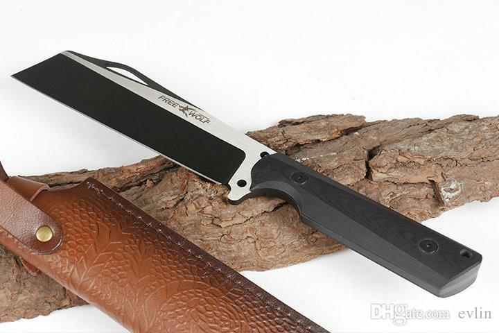 Neuer freier Wolf reparierten Blatt-gerades Messer 9Cr18Mov Titanium-Finish Tanto Klinge CNC voller Zapfen G10 Handgriff mit Lederscheide