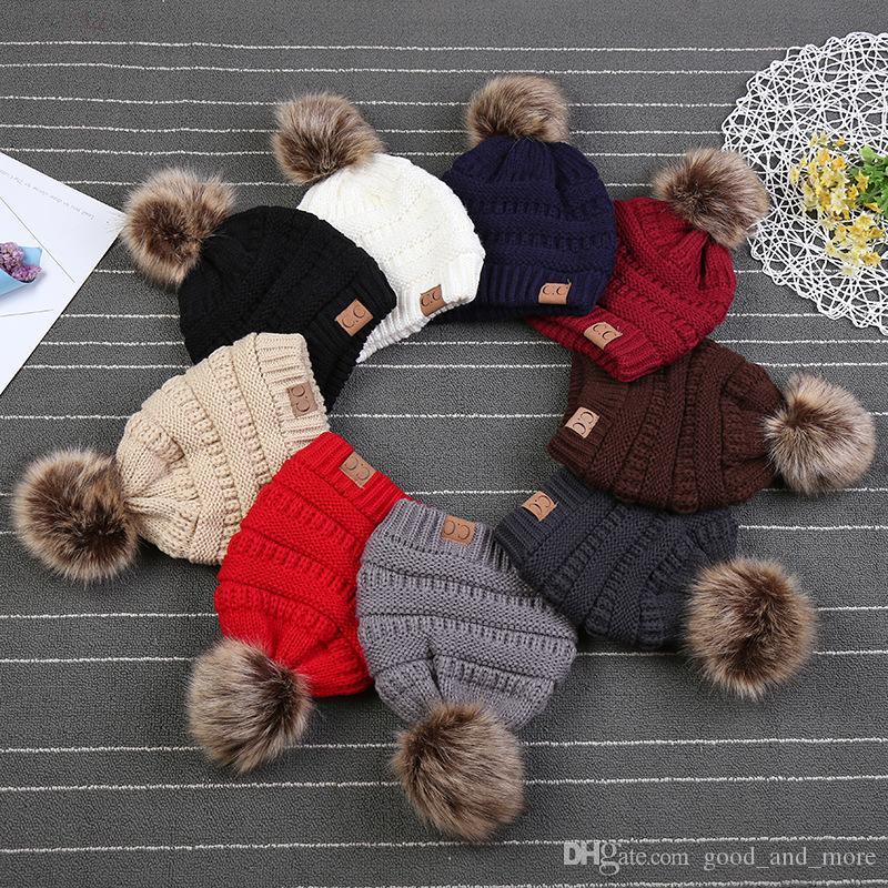 Bebek Sonbahar ve Kış Ebeveyn-çocuk Hairball Artı Kabarık Tel Şapka Şapka Örme Ilık