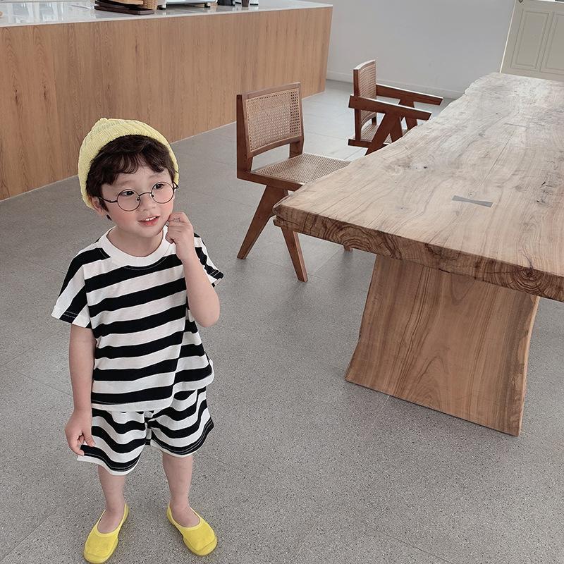 Детский полосатый набор летняя детская повседневная одежда в корейском стиле 03.28