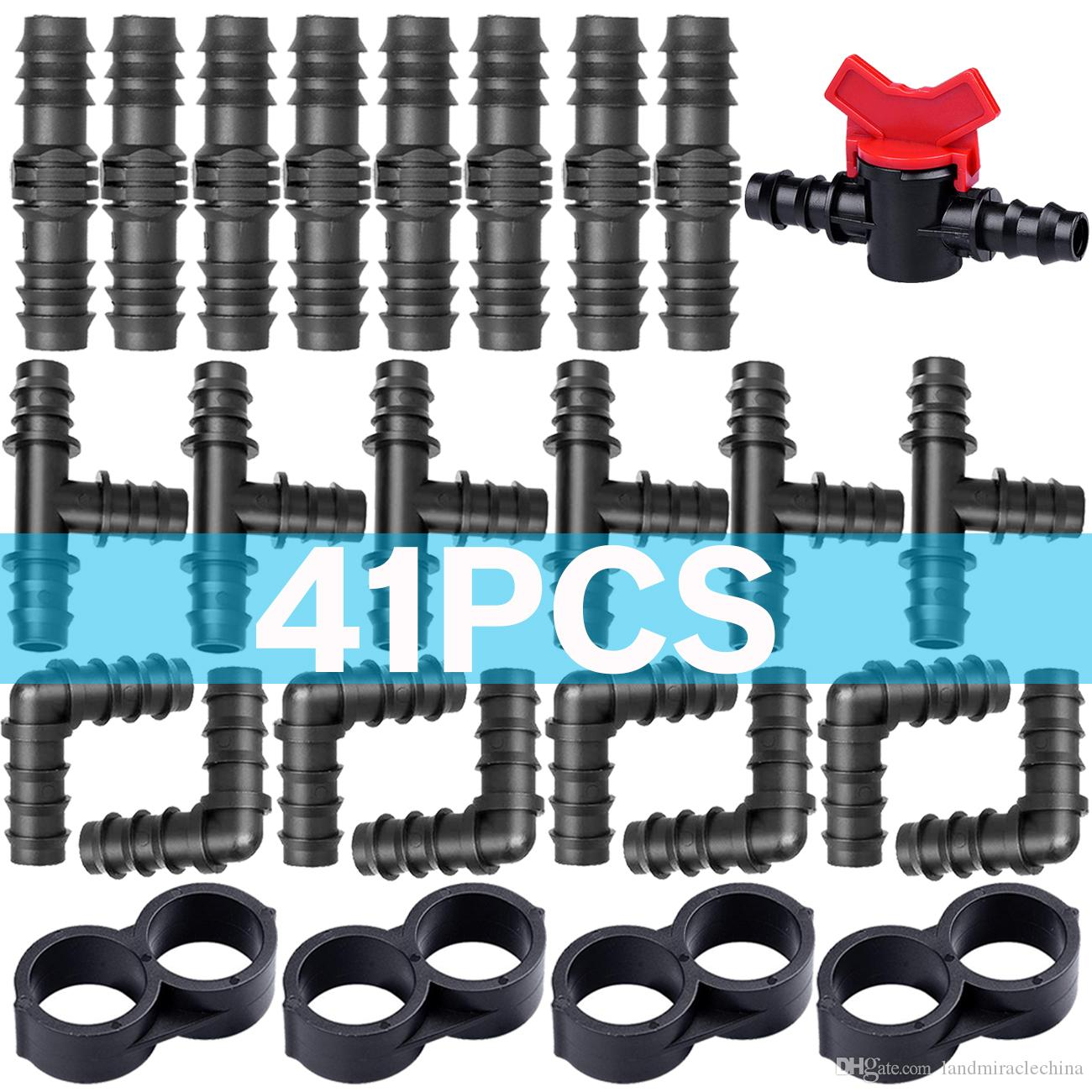 """41PCS Drip Irrigation Tee Barbed Connector Fitting Couplings Valves Shut-off 16mm for 1/2"""" Tubing Hose Watering Garden Tools Greenhouse"""