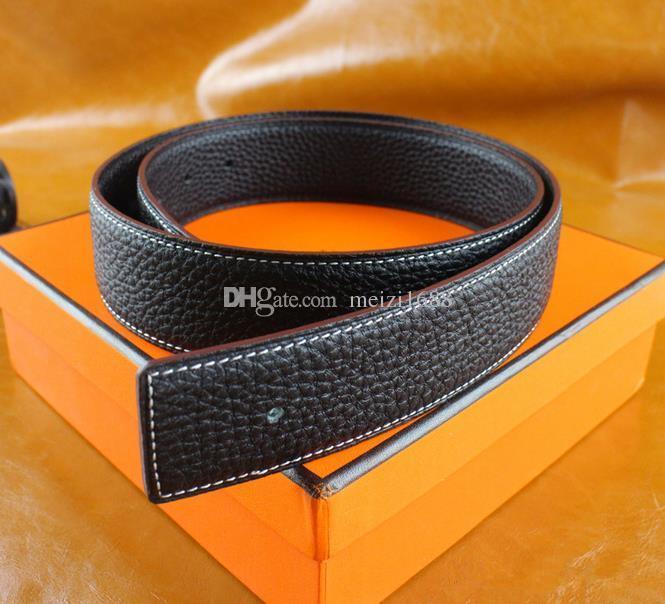 Fashion Men Gürtel Designer Luxury Business Glatte H Buckle Herren Gürtel für Luxus-Gurt mit Kasten-freies Verschiffen