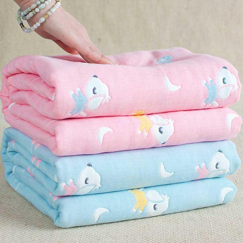 4 couches bébé couvertures pour coton nouveau-né en mousseline épais Swaddle couverture de bébé 110 * 110 cm Swaddle couette serviette de bain jouet tapis
