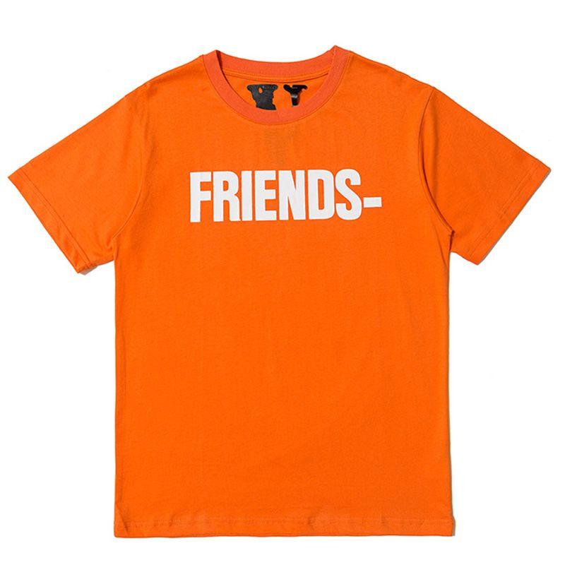 Vlone Amis T-shirt Homme Femme de haute qualité Hip Hop T-shirt orange Vlone hommes Styliste T-shirt Taille Tees S-XL