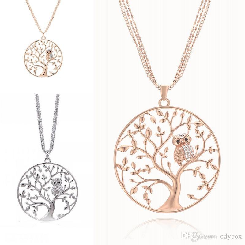 Свободная перевозка Owl животных с бриллиантовым ожерельем кулона Креативного Сова Древо жизни ожерелье цепью свитер для женщин Моды ювелирных подарков