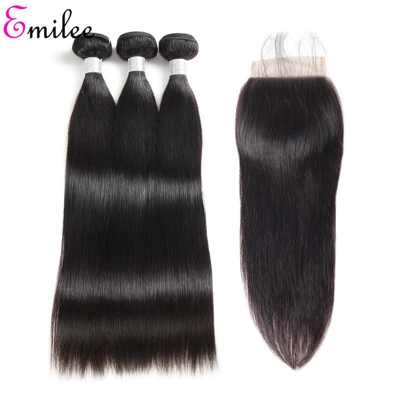 Emilee Straight 4*4 Lace Closure Hair Bundles Brazilian Hair Weave Natural Black Human Hair for Black Women