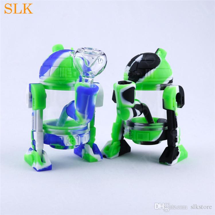 Popular robot shape silicone bong waterpipe electric dab rig with 14mm bong bowl fat glass oil burner pipe hookah shisha