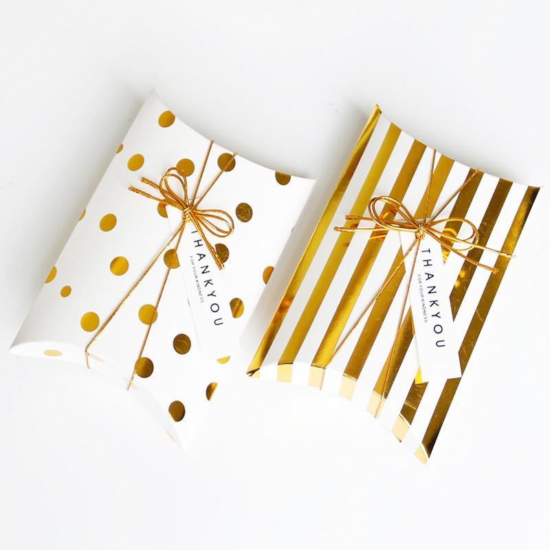 Oro de puntos caja de bicarbonato de boda caja de regalo de rayas celebración almohada dulces sin cinta y 14x10cm etiqueta adaptable del logotipo