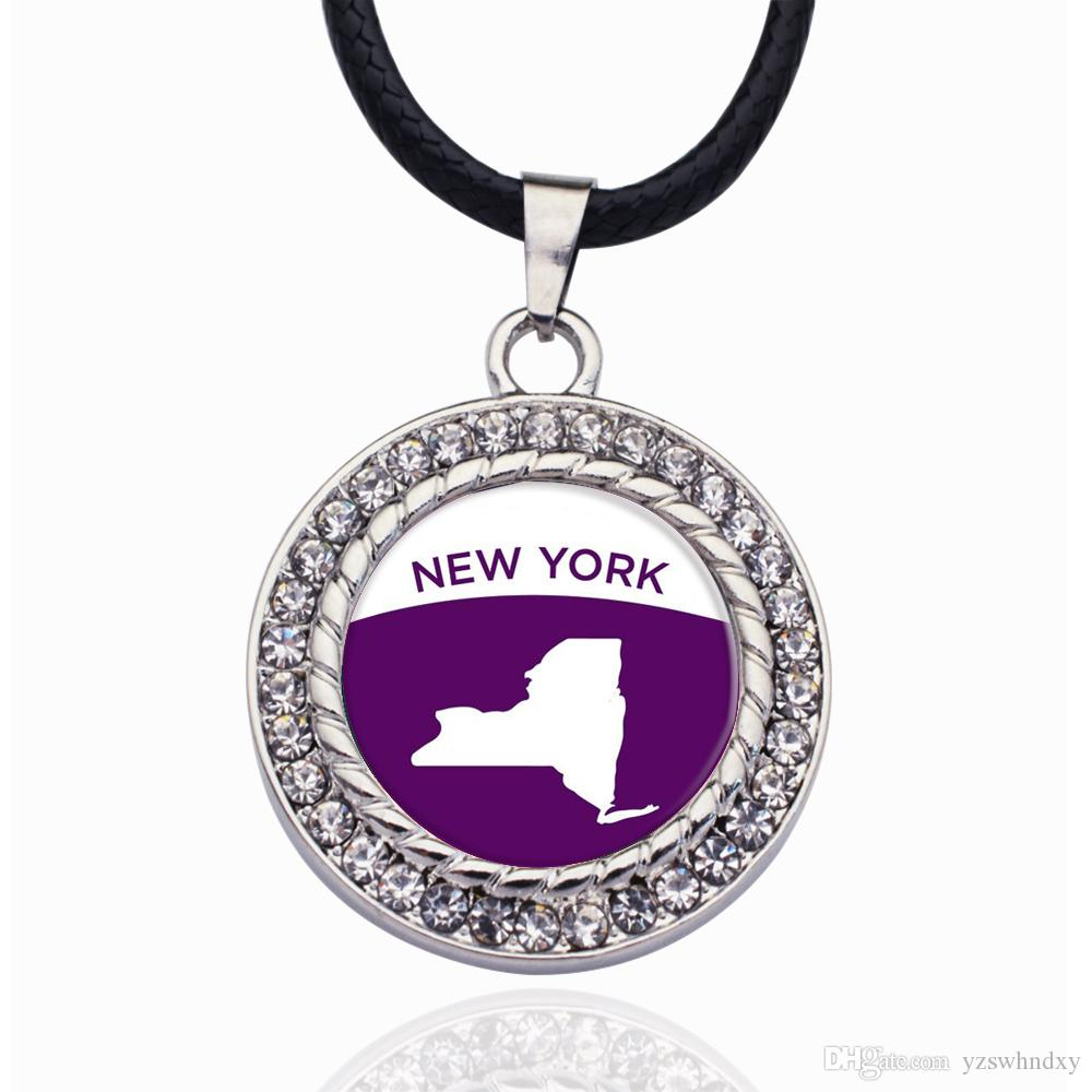 New York Outline Circle Charm Necklaxes Pendants Pendant heart Fashion Necklaces for Women 2019 Statement