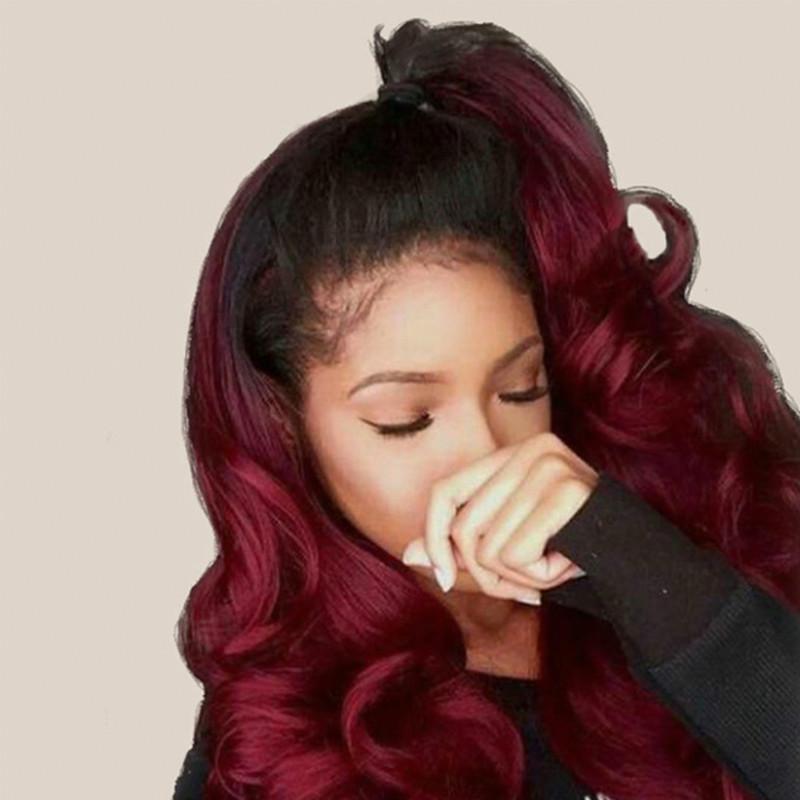 Lace Front Perücke 1b / 99j Farbige Ombre Echthaar Perücken Für Frauen Brasilianische Körperwelle 360 Lace Frontal Perücke Remy Haar