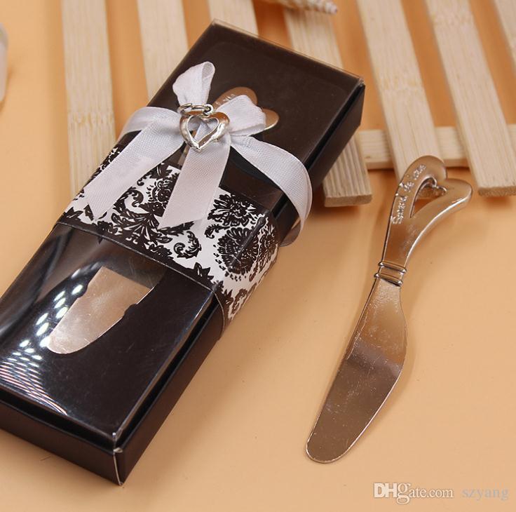 انتشر على شكل قلب الحب على شكل قلب مقبض الموزعات الموزعة زبدة السكاكين سكين هدية عرس الحسنات SN2976