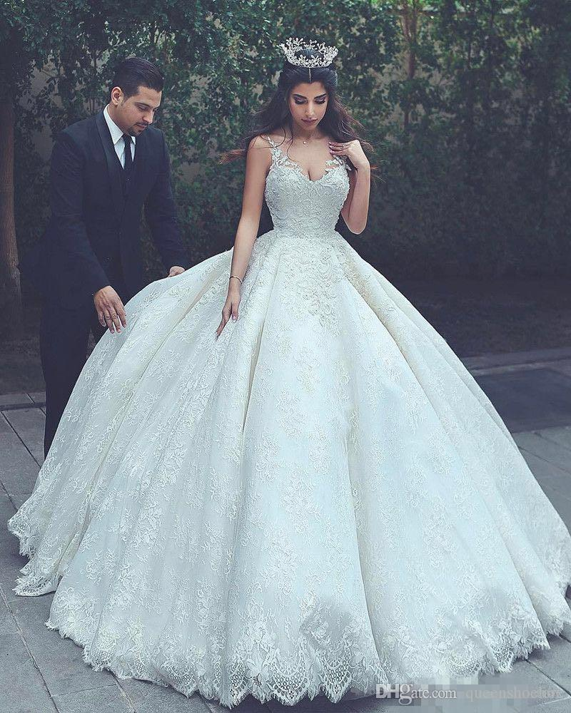 discount princesses ivory ball gown wedding dresses saudi arabia v neck  applique lace pakistani bridal gowns plus size puffy corset turkey 2019  ball
