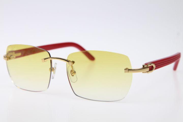 Hot Designer Randlos Rot Plank Sonnenbrille Hohe Qualität Katzenauge Gold-Brown-Objektiv-Gläser Aztec Arme Brille