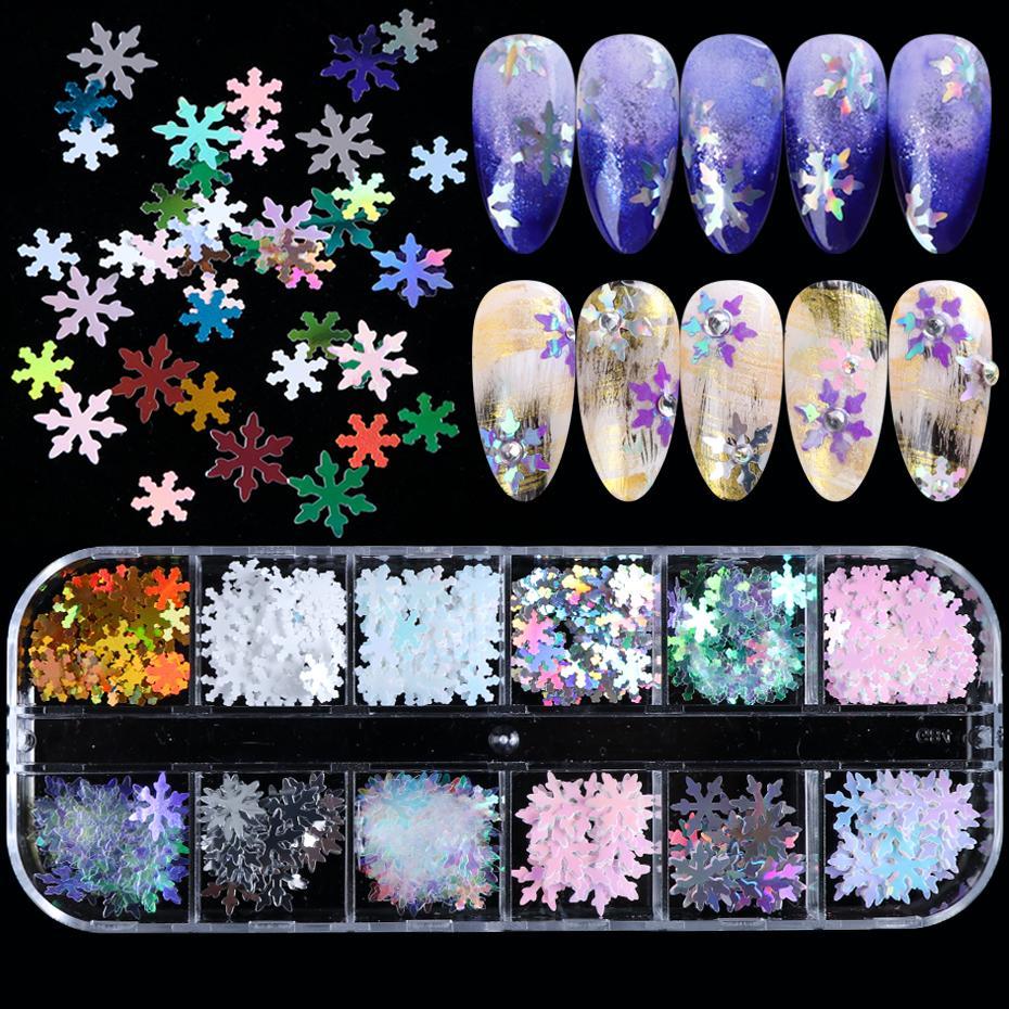 1 Box 3D Xmas Snowflakes Nail Sequins Mermaid Flakes Slider Nails Shimmer Pearl Jewelry Tips Manicure Nail Art Decoration SAXA-C