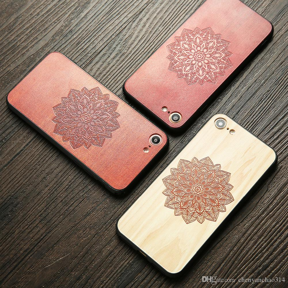 Wood Case For iphone 7 6 6s Plus 7Plus Cover DIY 3D Flower Rose Maple Wooden Embossed Phone Cases Fundas for iPhone7