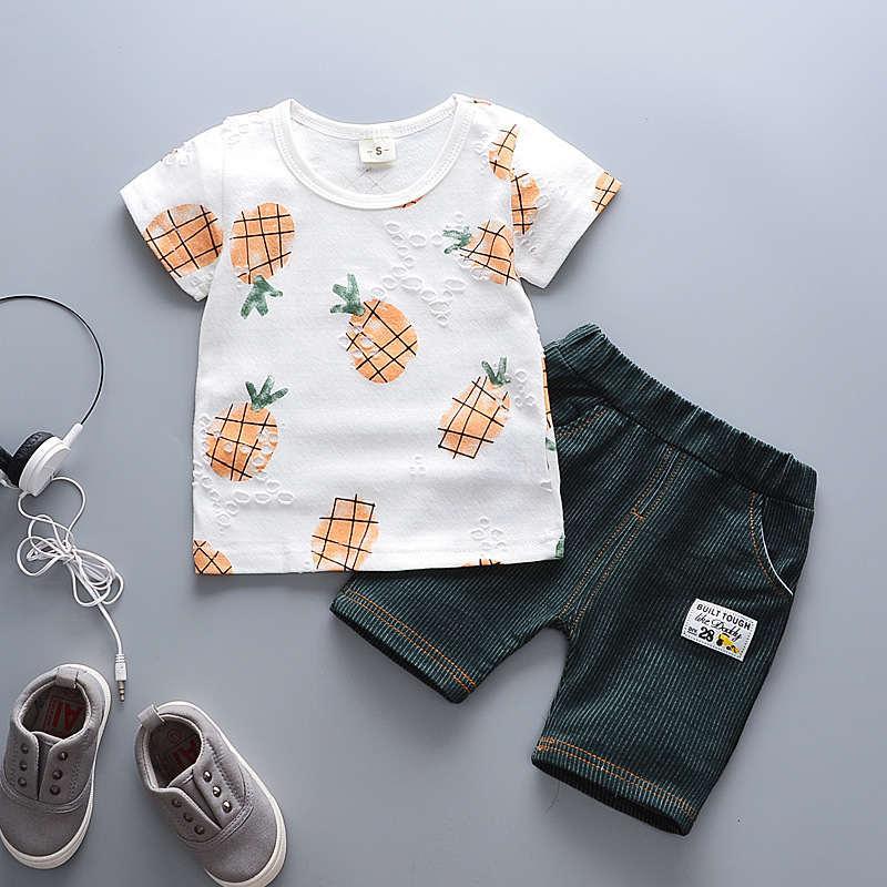 2019 Erkek Bebek Giyim Seti Çocuk Giysileri Eşofman Set 2 Adet Kısa + Pantolon çocuk Kıyafetleri için Boys kıyafet Kostüm Çocuklar