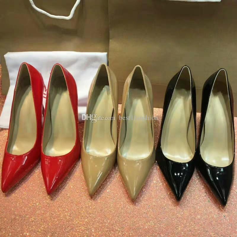 Mode chaussures femmes concepteur de luxe talons hauts de mariée talon haut bout pointu pompes dames en cuir nude blanc noir carrière chaussures EUR34-42