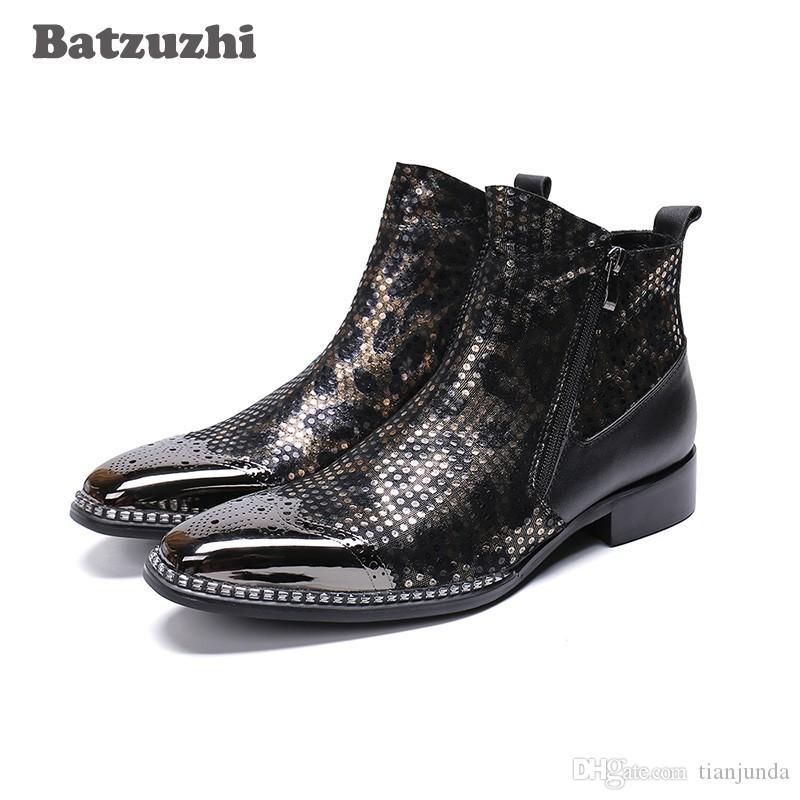 Batzuzhi POP Uomo Stivali Super Star Uomo Stivaletti in pelle Uomo Punta a punta in metallo nero Party e Matrimonio botas hombre, Big US6-12