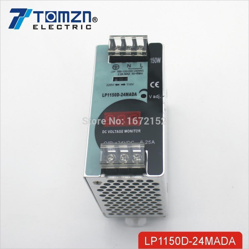 Freeshipping 150W 24V 6.25A Mini size Din Rail Single Output Switching power supply with voltmeter voltage display montior 100-240V input
