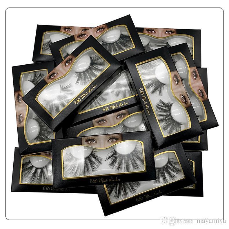 NEW Hot 25mm 3D Cílios Postiços Naturais Cílios Postiços 3D Vison Extensão dos Cílios Maquiagem Grande Dramático Vison Cílios Postiços 6D-02