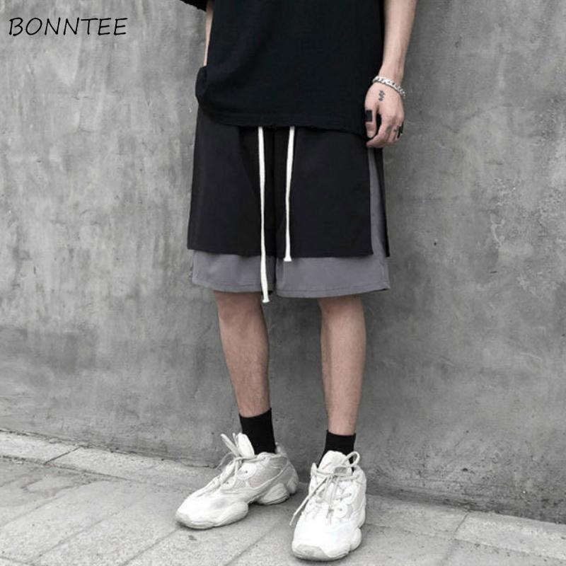 Мужчины бордшортов патч Designs ретро длиной до колена плюс размер 3XL Сыпучие Корейский Стиль Vintage Chic Досуг Steetwear Хип-хоп Ulzzang
