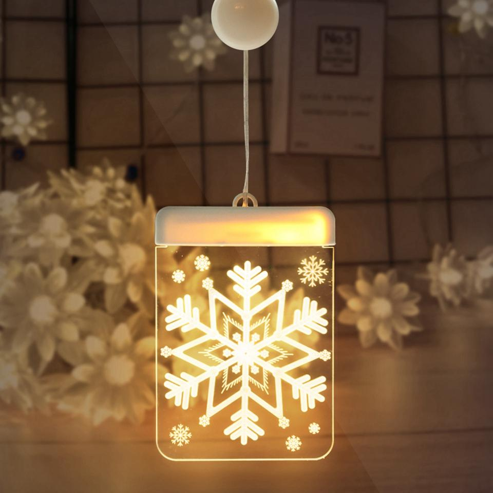 LED Christmas 3D Snowflake Night Light Warm White Color Touch Control DIY Christmas Window Decorations Night Lights New Design