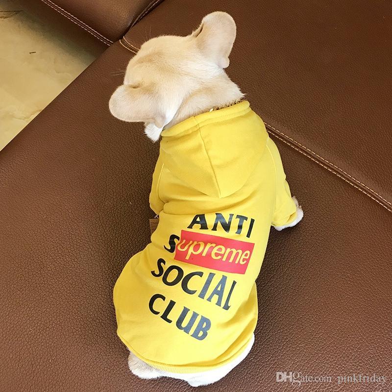 브랜드 디자이너 개 옷 캡 코튼 고양이 개 후드 봄과 가을 스웨터 테디 불독 슈나우저 T 셔츠