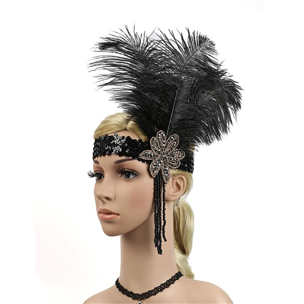 1920s Women Headband Vintage Headpiece Feather Flapper Headband Great Gatsby Headdress Hair Accessories Arco De Cabelo Mujer A8 Jewelry Headband