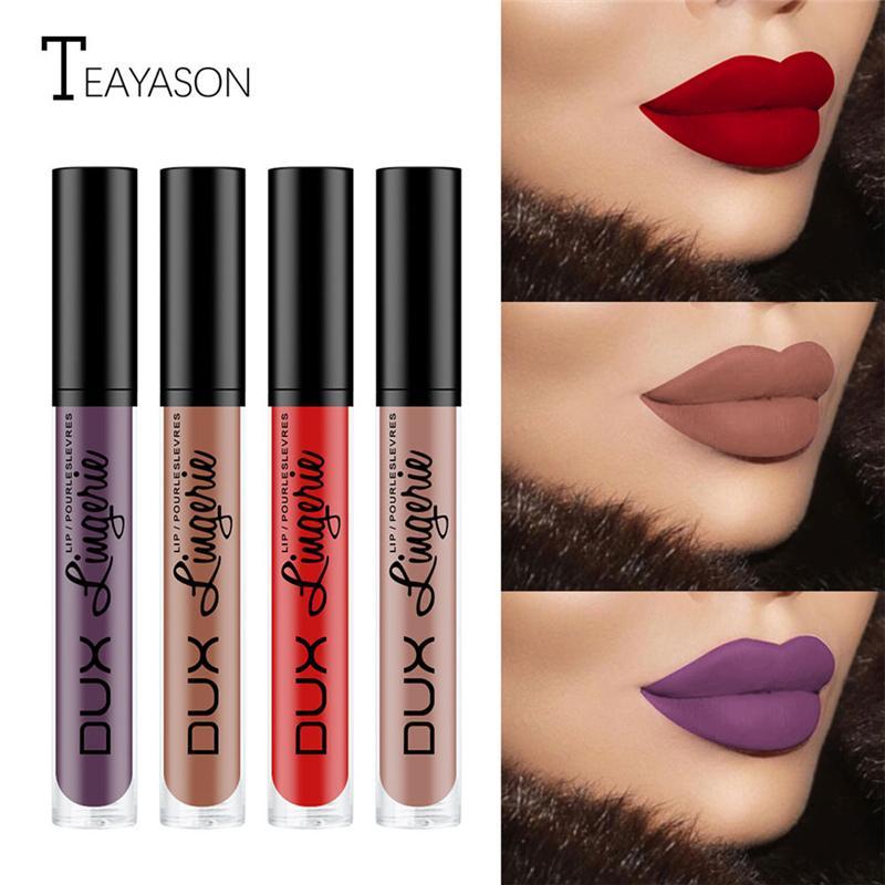 Beauty Womens Nude Lipstick Waterproof Long Lasting Lips Liquid Pigmented Matte Lipstick Lip Gloss Makeup Maquiagem Batom