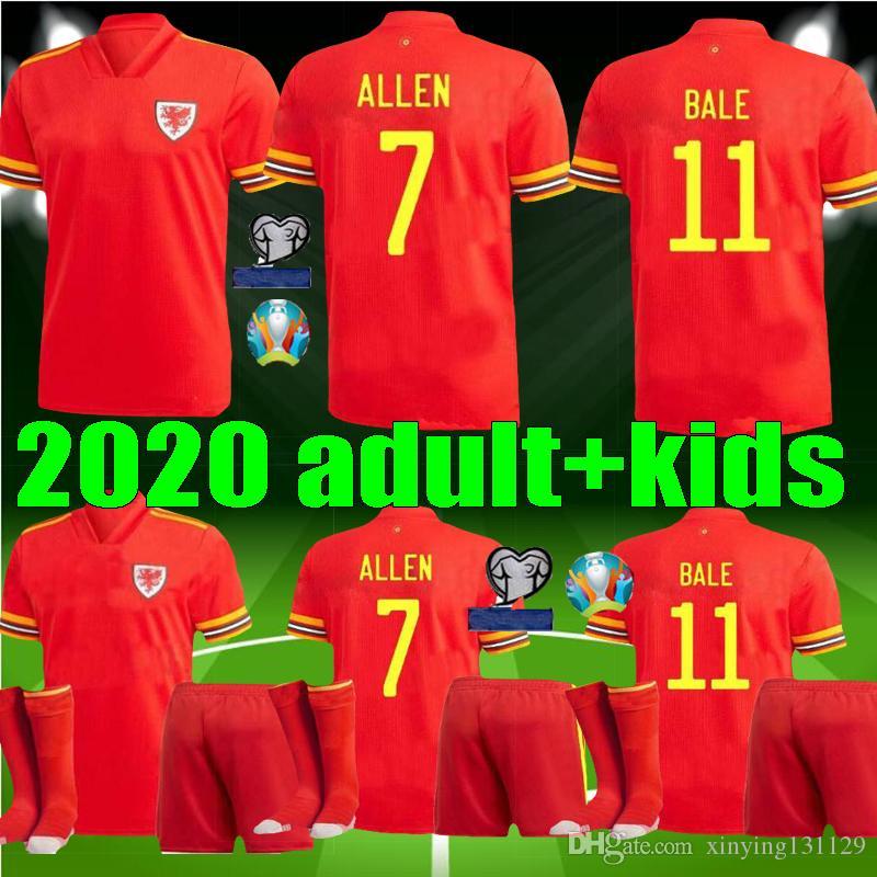 Coppa Europa 2020 Uomi bambini Galles kit Jersey di calcio 20 21 BALE ALLEN James Ben Davies Wilson ragazzi adulti camicia di gioco del calcio di casa RED