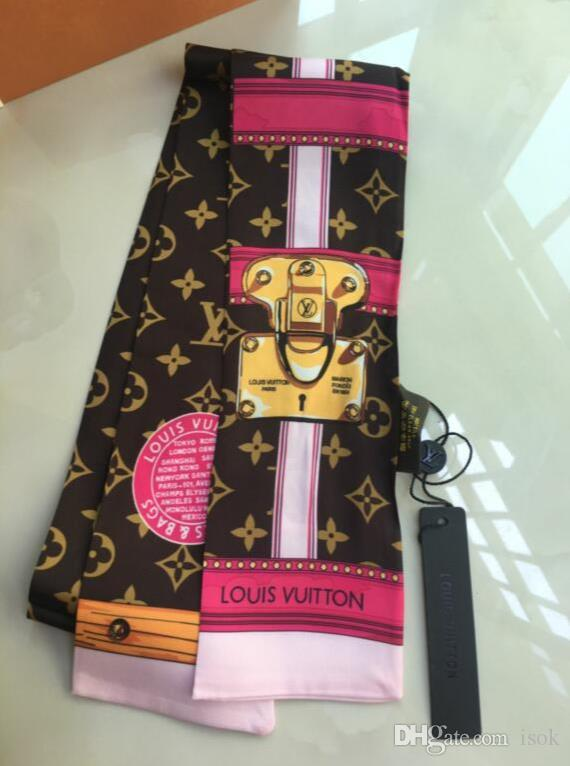 10PCS, 세련된 고급 100 % 실크 넥타이 스카프 패션 여성 실크 헤어 머리띠 고전 스카프 작은 리본 인쇄 실크 scarfves120 * 8C