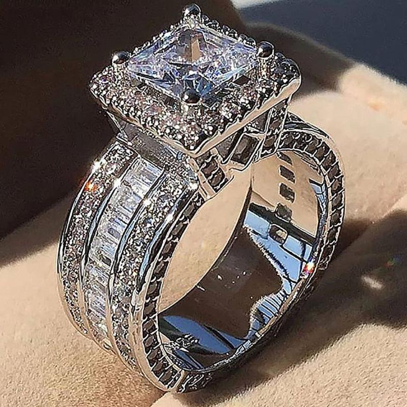 Tribunal Vintage Anel 925 Prata Princesa cortar pedra CZ noivado casamento banda anéis para Mulheres Jóias presente