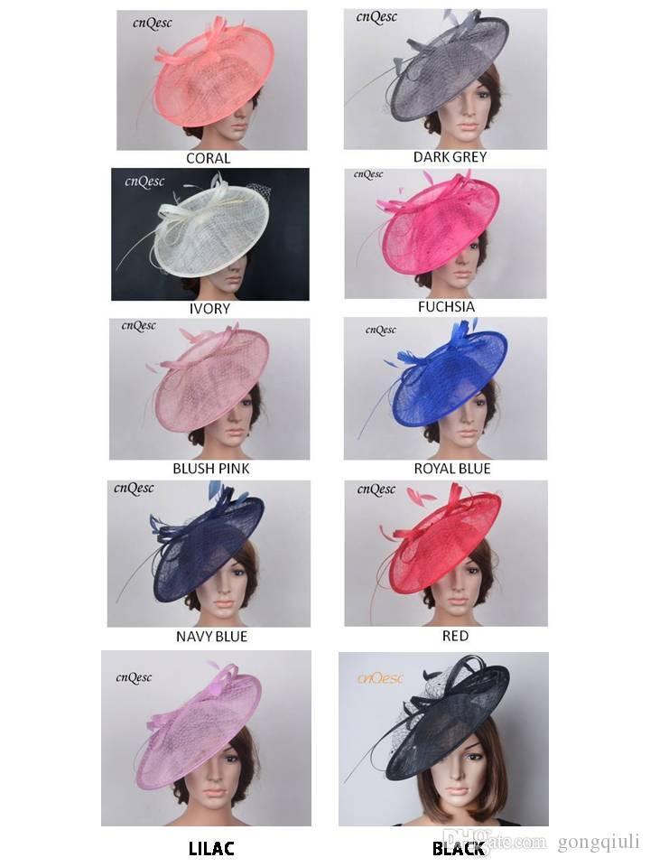 SPEDIZIONE GRATUITA DA EMS.Wholesale NUOVI colori Grande fascinator di base Sinamay Cappello da sposa Fedora per kentucky derby.