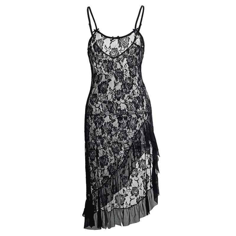 4 Colors Black Red White Wine Long Dress S M L XL XXL 3XL 4XL 5XL 6XL Plus Size Women Sexy Lingerie Night Costumes Xmas Gown