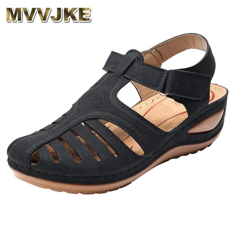 MVVJKE bayanlar sandalet yaz gündelik sandaletler platformu takozlar ayakkabı beden gladyatör roma tarzı
