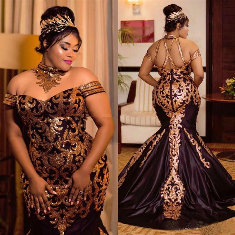 Sparkly ouro lantejoulas sereia vestidos de noite de sereia 2020 plus size halter fora do ombro vestido formal africano setin varredor trem vestidos de baile
