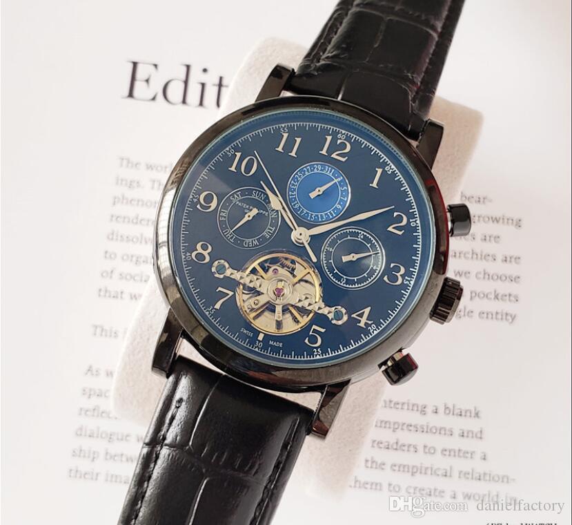 couro calendário mecânico de relógios de luxo novos homens automática GMT homens de negócios luminosa 30M impermeável relógio