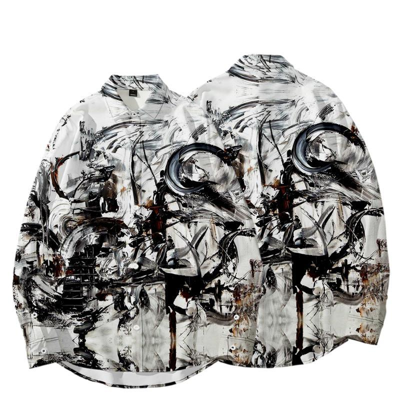 Homens Casual Camisas Mens 3D Impresso Autumn Plus Size Estética Camisa de Menturndown Collar Manga Longa Camisas Sociais Masculinas