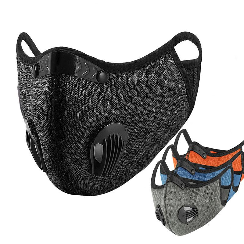 사이클링 얼굴은 교육 MTB 도로 자전거 보호 먼지 방지 물방울 마스크 실행 필터 PM2.5 공해 방지 스포츠와 활성탄 마스크