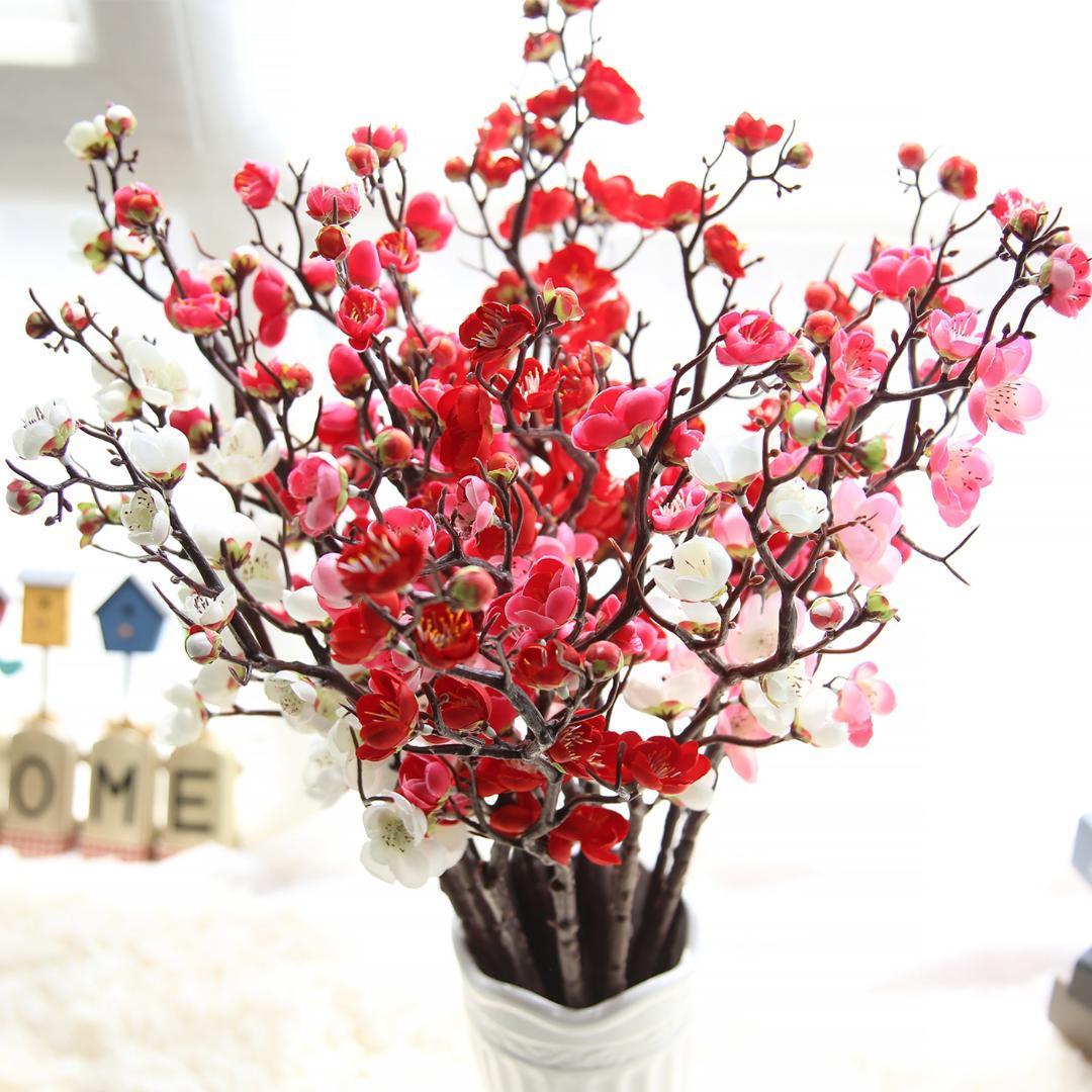 Flor Artificial cereza primavera ciruela melocotón flor rama 60 cm seda flor árbol brote para decoraciones de fiesta de boda