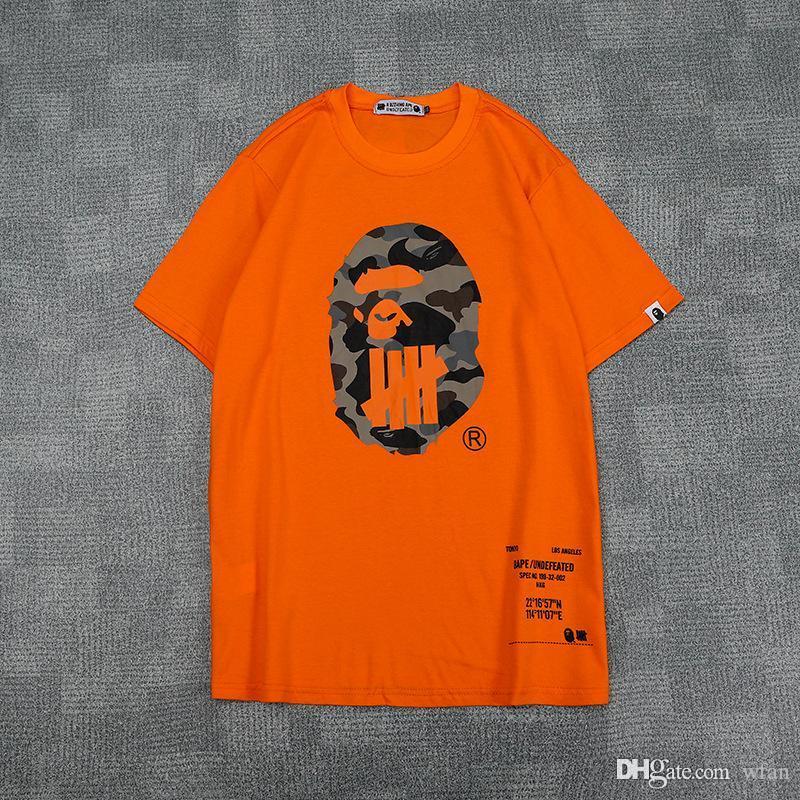 Новые летние мужские мультфильм принт хлопок с короткими рукавами черные белые оранжевые футболки подросток личность повседневные хип-хип футболки