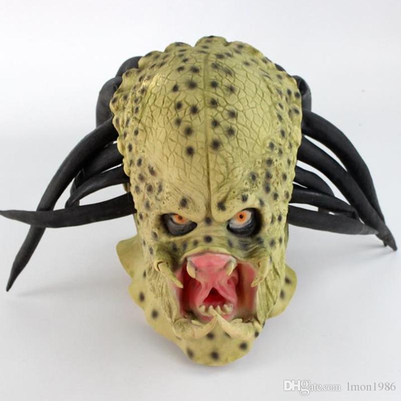 Hot Filme Alien vs Predator Máscara De Látex Cosplay Filme Predator Halloween Party CosplayTerror Máscara Prop Fantasia vestir brinquedo
