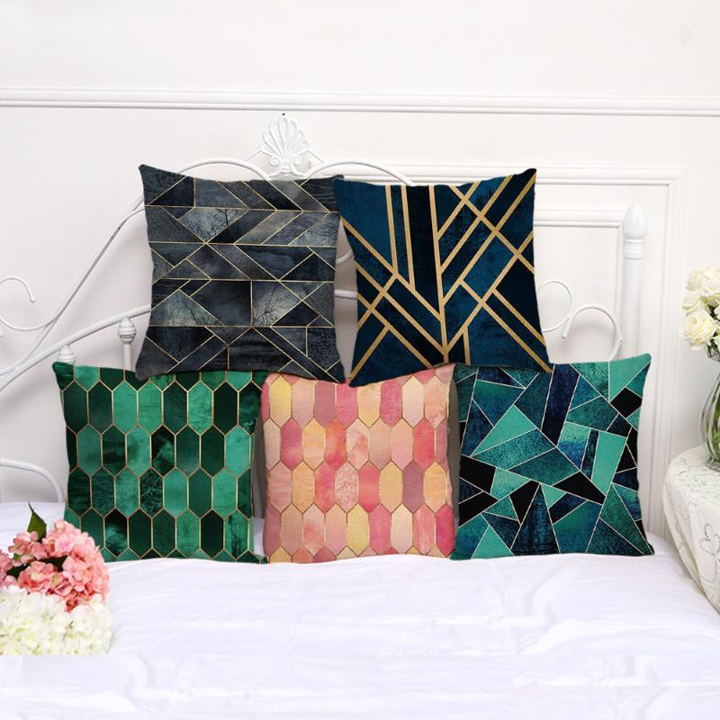 45 * 45cm colorato mosaico geometrico modello Cotone Lino tiro cuscino Cuscino da auto e sofà decorativo federa Decor