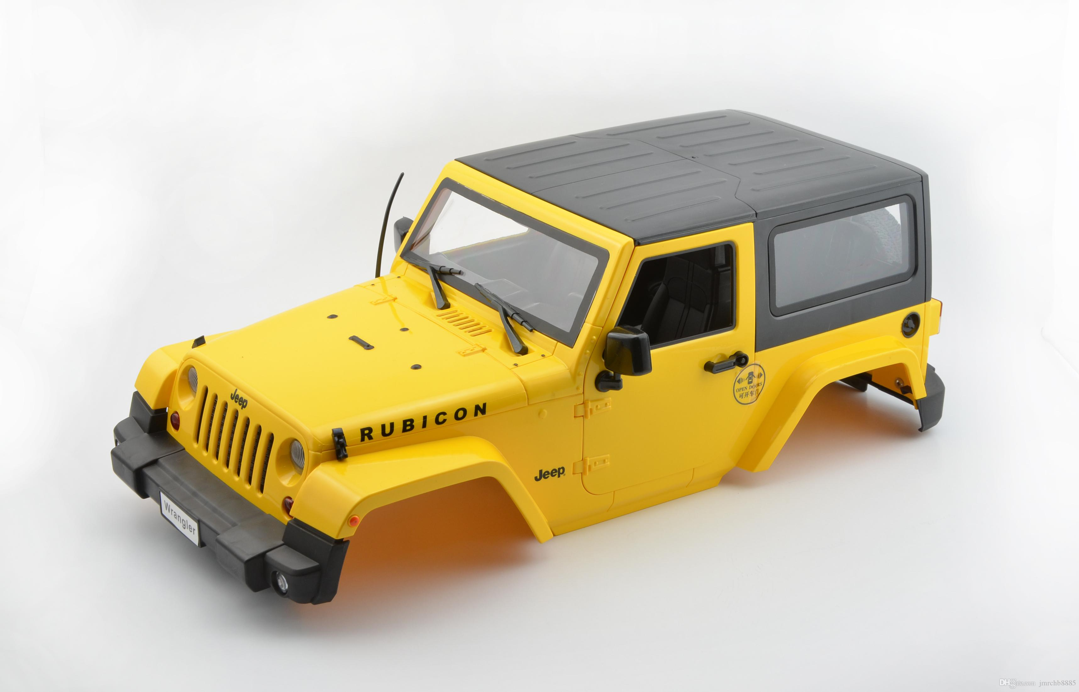 Rc Scale Truck Body Shell 1 10 Jeep Wrangler Rubicon Hard Body Interior Yellow Toys Hobbies Cars Trucks Motorcycles