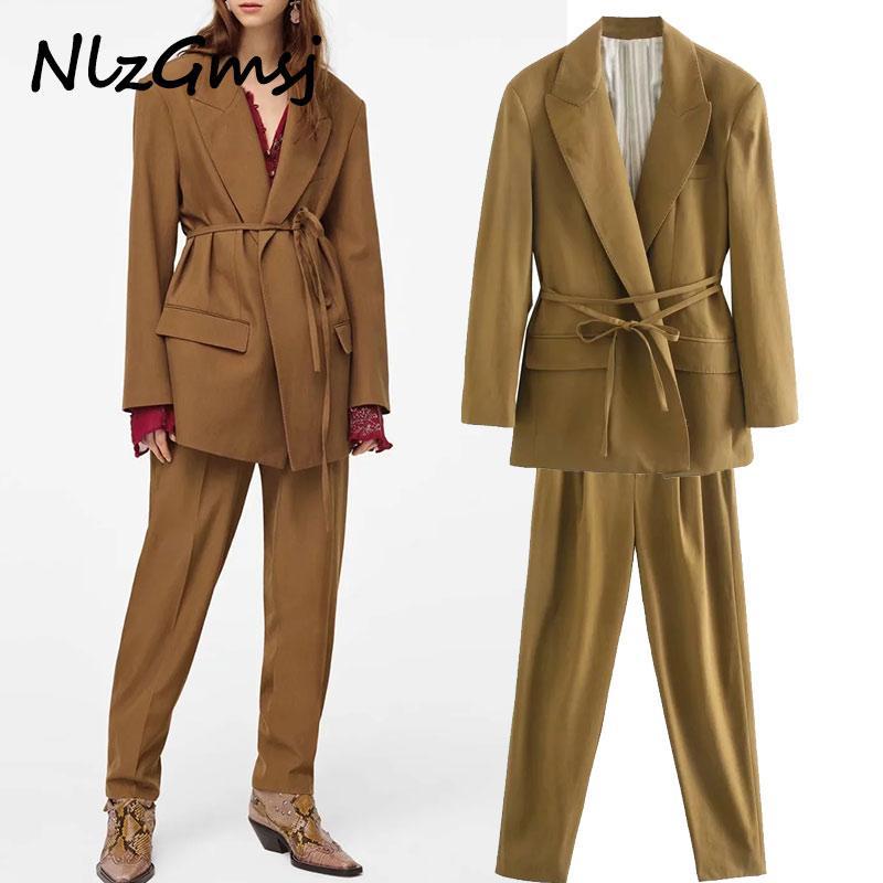 2020 ins fashion blogger Inghilterra vendemmia oversize telai allentate giacca sportiva Blazer donne mujer 2020 donne blazer e pantaloni